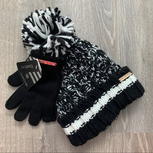 NWT BEBE Pom Pom Hat and Glove Set